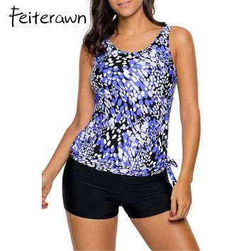 Feiterawn Summer 2017 Swimming Suit For Woman Vintage Print Tankini Swimsuit With Shorts Beach Wear DL410274 Traje De Bano