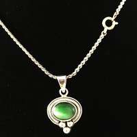 Southwest Style Sterling Silver Moonglow Cab Pendant, Vintage Silver Chain Necklace with Green Cabochon Drop Centerpiece
