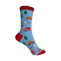 Camping Crew Socks in Blue