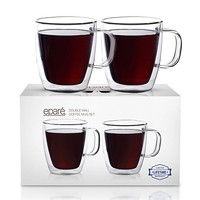 Eparé Insulated Coffee Cups Set (12 oz, 350 ml) – Double Wall Tumbler Glass Cup – Mug for Drinking Tea, Latte, Espresso, Juice, or Water – 2 Glasses