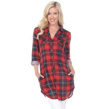 Women's White Mark Plaid Tunic | null