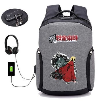 Anime Backpack School kawaii cute Fullmetal Alchemist backpack USBUSB external hole Travel Bags boy girl Laptop Backpacks student book backpack 10 style AT_60_4