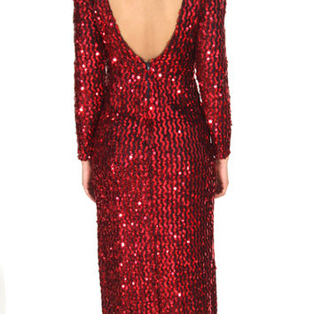 Vintage 80s Red Sequined Long Sleeve Maxi Dress