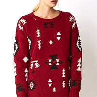 FOREVER 21 Wool-Blend West Bound Sweater Burgundy/Black