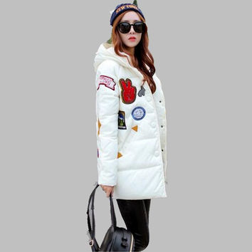 Women Winter Jacket New Fashion Printing Hooded Jacket Thick Warm Cotton Down jacket Charm Men women Students Loose Coat Ok259