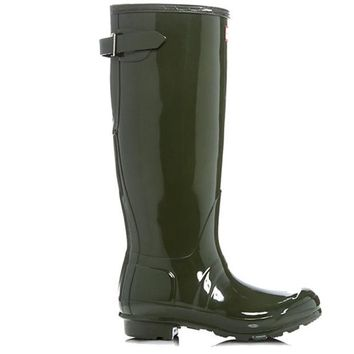 ONETOW Hunter Tall Adjustable Back - Gloss Dark Olive Tall Rain Boot