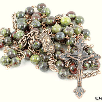 Wire Wrapped Rosary Dragon Blood Jasper Copper Rustic Catholic