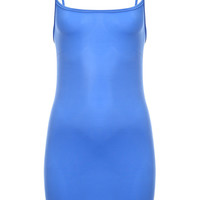 Blue Seamless Mini Slip Dress