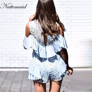 New Sexy Women off should Jumpsuit Sexy hollow out Rompers  Short Jumpsuit Lace ruffles Play suit overalls
