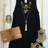 Back at It Tunic Dress: Black