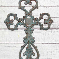 Rustic Iron Cross // Cast Iron Cross // Religious gift // Christian gifts // cross decor // verdigris cross // patina cross // Iron Cross