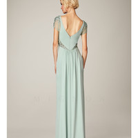 (PRE-ORDER) Mignon Spring 2014 Dresses - Mint Bateau Beaded Cap Sleeve Long Prom Dress