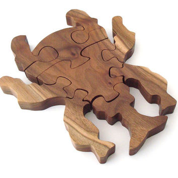 Beetle Bug Insect Puzzle Weevil Waldorf Wooden Puzzle Walnut Hand Cut Scroll Saw