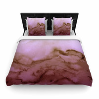 "Ebi Emporium ""Winter Waves 8 "" Pink Tan Woven Duvet Cover"