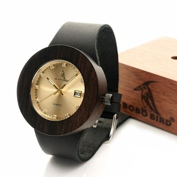 Bobobird Handmade Mens Wood Watch Made from 100% Natural Black Wood With Calendar Each Watch Unique No two Pieces of Wood Are th