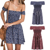 Summer Women Dress Sexy Off Shoulder Floral Printed Strapless Wrap Chest Casual Short Dresses FS99