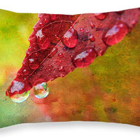 Decorative Pillow - REFRESHMENT raindropped leaf, home accent, pillow covers, cushion covers, scatter cushion, colorful, colourful decor