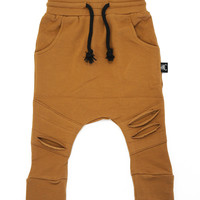 RUST DISTRESSED DROP CROTCH PANTS - Oovy