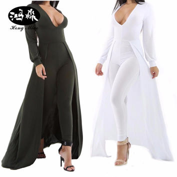 Elegant Jumpsuits For Women 2017 Winter Rompers Jumpsuit Sexy V Neck Bodycon Jumpsuit Long Pants Sleeveless Jumpsuit green White