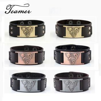 Teamer Viking Bracelet Fox Pagan Genuine Leather Animal Amulet Supernatural Talisman Black/Brown Colors for Man