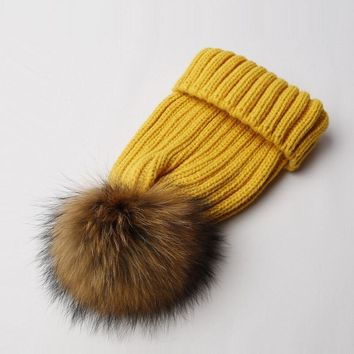KNB008 Natural Winter Fur Pom Pom Knitted Beanie Skullies Fashion Men Warm Hat Removable Genuine RealFur Ball Cable Knit Cap