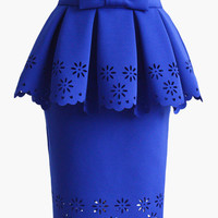 Royal Blue Scallop Floral Cut-Out with Waist Bow Tie Pleated Peplum Skirt