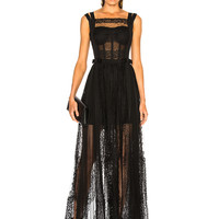 Zuhair Murad Paneled Lace Sleeveless Gown in Black | FWRD