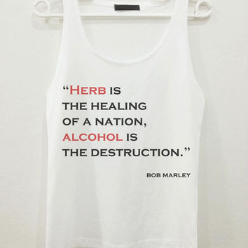 Bob Marley Herb is Healing Quote Text Women Sleeveless Tank Top Shirt Tshirt