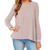 Plain Crimp Loose Chiffon Shirt
