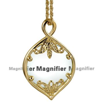 Decorative Leaf Magnifying Glass Chain Pendant Necklace