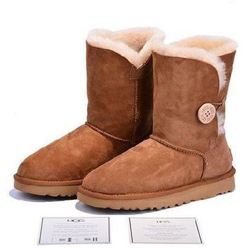 ESBON Ready Stock Brown Sheepskin Wool-one Ugg Tall Boots With Wood Button From Artemisoutlet