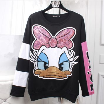 Autumn and winter new women 's Donald Duck sweater women' s long sleeve sleeve head students loose jacket plus velvet thickening tide
