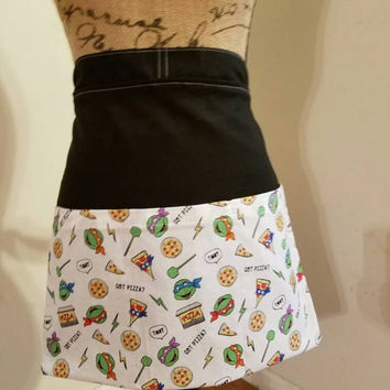Teenage - mutant - ninja - turtles - tmnt - pizza - coffee - shop - Diner - waitress - pinup - rockabilly - half - apron - w/ - pockets