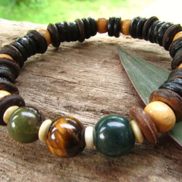 Tigers Eye, Indian Agate, Yak bone, Coconut & Wood Beaded Mens Bracelet / Mala Yoga Chakra Meditation Stretchy Hippie Boho Bracelet