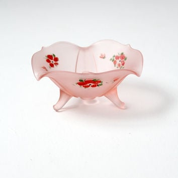 SALE vintage satin glass hand-painted candy bowl