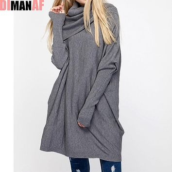 Plus Size Women Sweaters 2017 Autumn Knitting Turtleneck Cotton Solid Batwing Female Casual Basic Fashion Winter Loose Pullover