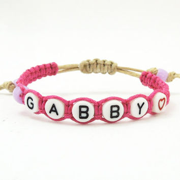 Girl bracelet - Personalized name bracelet - Custom name bracelet - Pink braided hemp bracelet with alphabet beads - Girl accessories