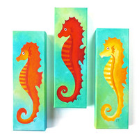 THREE SEAHORSES, Art for home and office, Set of 3, 4x12 acrylic canvases