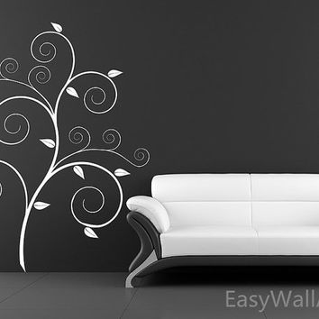 Scroll Tree Wall Decal, Autumn Tree Wall Sticker for Living-room, Bedroom, Office, Nursery & Beautiful Tree Wall Decor #F64