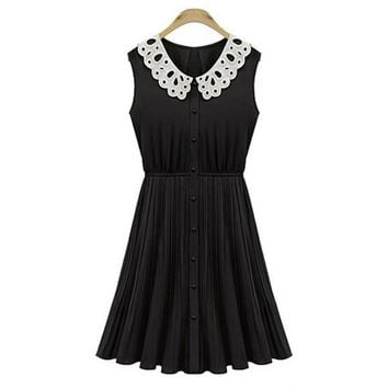 Peter pan Collar Pleated Chiffon cute sweets kawaii high waist Black Dress With White Collar button hollow out Vintage