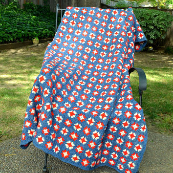 Vintage Afghan Blanket, Red White and Blue Crochet Granny Square Blanket, Picnic Blanket or Throw,  Patriotic Colors, circa 1960s