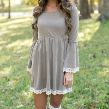 Gray Lace Trim Long Sleeve Dress