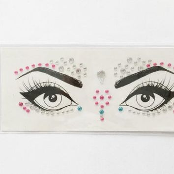 New Acrylic Resin Drill Stick Bindi Sticker Handpicked Bohemia And Tribal Style Face And Eye Jewels Forehead Stage Decor Sticker