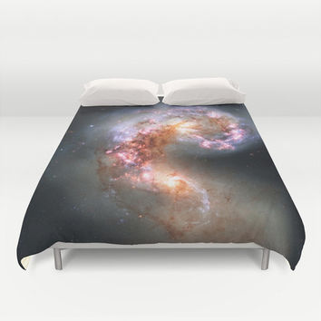 Galaxy Duvet Cover, Galaxy Bedding Cover, Outer Space Bedroom Decor, Antennae Galaxies, Home Decor, King, Queen, Full