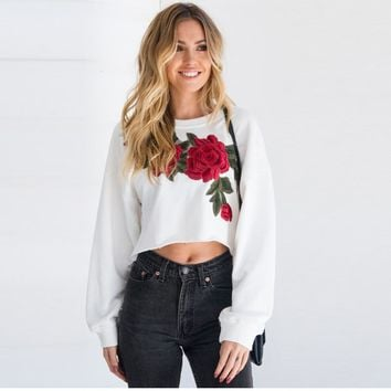 2017 FALL FASHION Women's White Long Sleeved Floral Cropped Top Sweatshirt