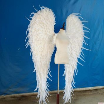 White or Black Feather Angle Wings Cosplay Game Party Wedding Catwalk Props