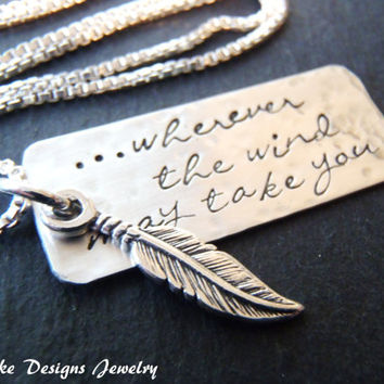 sterling silver feather necklace Inspirational jewelry graduation gift