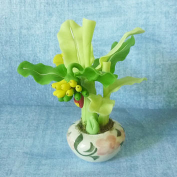 Mini banana tree Fruit ceramic pot/ tree pot/ Miniature clay tree/ miniature plants/ Dollhouse plants/ Miniatures