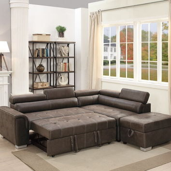 Poundex F6549 3 pc Madison collection dark coffee breathable leatherette upholstered sectional sofa set with pull out sleep area