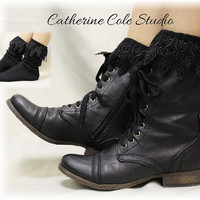 BOOT BLISS in Black, The Ultimate lace socks for your combat, clogs or cowboy boots, Made in America by Catherine Cole Studio SLXC2